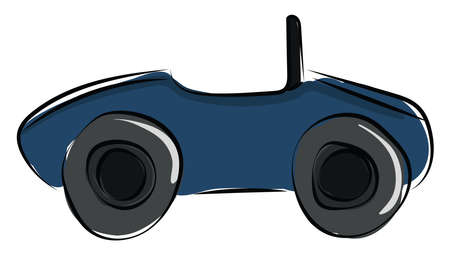 Blue car, illustration, vector on white background.