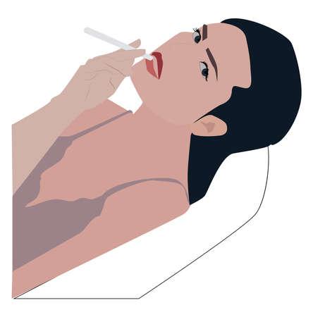 Smoking girl, illustration, vector on white background.