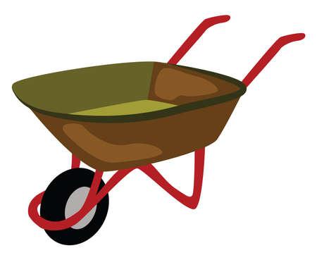 Wheelbarrow, illustration, vector on white background.