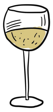 White wine, illustration, vector on white background.