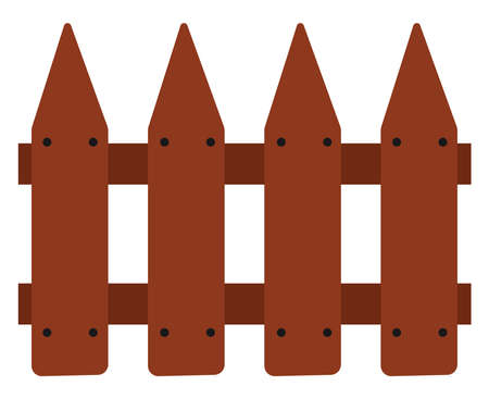 Wooden fence, illustration, vector on white background.
