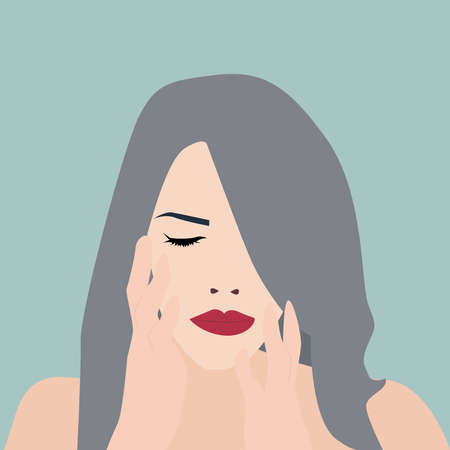 Girl with closed eyes, illustration