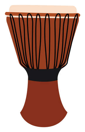 Orange djembe, illustration, vector on white background. Ilustración de vector