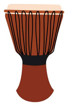 Orange djembe, illustration, vector on white background. Vector Illustratie