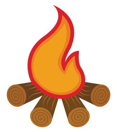 Bonfire, illustration, vector on white background.