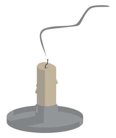 Extinguished candle, illustration, vector on white background.