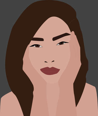 Girl with hands on face, illustration