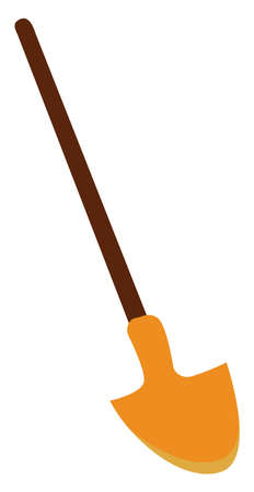 Yellow spade, illustration, vector on white background.