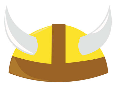 Vikings hat, illustration, vector on white background. Illustration