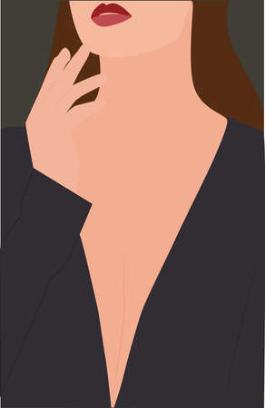 Woman with red lips, illustration, vector on white background. 向量圖像