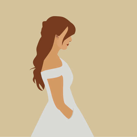 Woman in white dress, illustration, vector on white background.