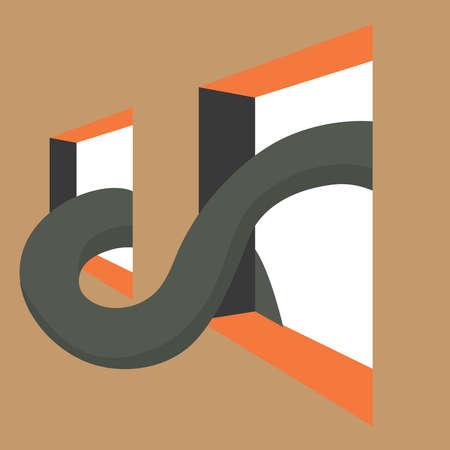 Big snake, illustration, vector on white background. 向量圖像