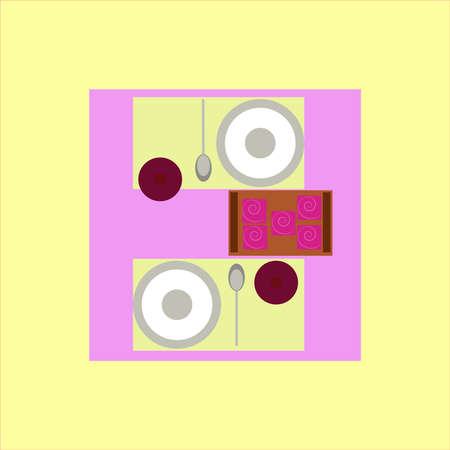 Table with food, illustration, vector on white background. 向量圖像