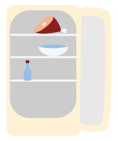 Open fridge, illustration, vector on white background.