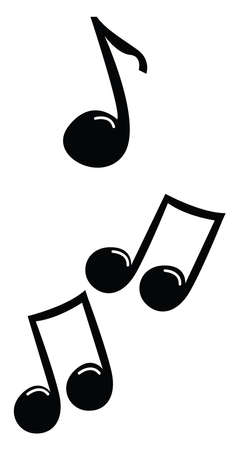 Music notes, illustration, vector on white background. Vettoriali