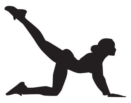 Silhouette of a woman stretches out hamstrings , illustration, vector on white background.