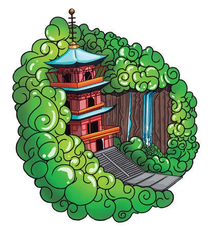 A castle in a greeny forest, illustration, vector on white background.