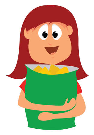 Girl with large pack of chips, illustration, vector on white background.
