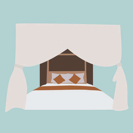 Bed with curtains, illustration, vector on white background.