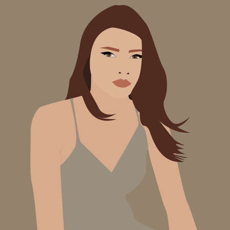 Woman with brown hair, illustration, vector on white background. 向量圖像