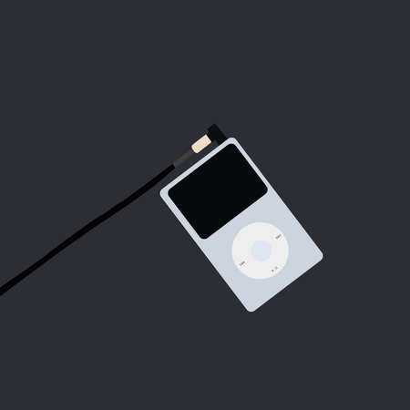 Blue MP3 player, illustration, vector on white background.