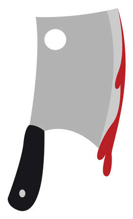 Bloody knife, illustration, vector on white background. Ilustração