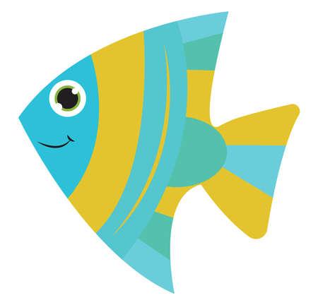 Happy fish, illustration, vector on white background.