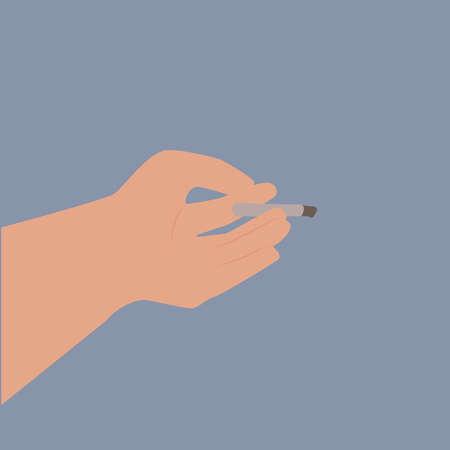 Cigarette in hand, illustration
