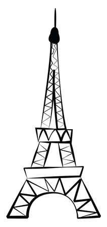Eifel tower drawing, illustration, vector on white background. 向量圖像