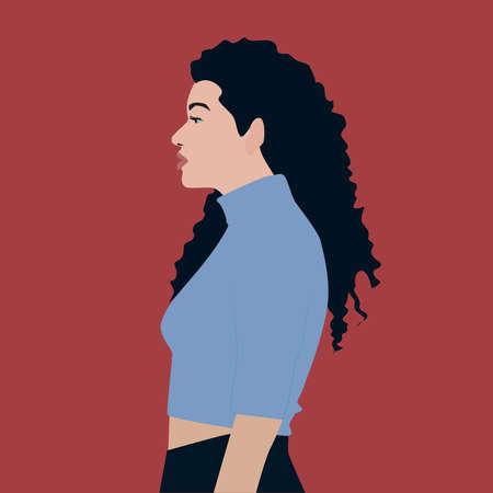 Girl in blue shirt, illustration, vector on white background.
