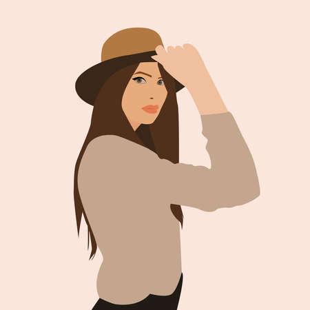Girl holding hat, illustration, vector on white background.