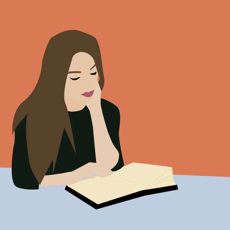 Girl reading book, illustration, vector on white background.