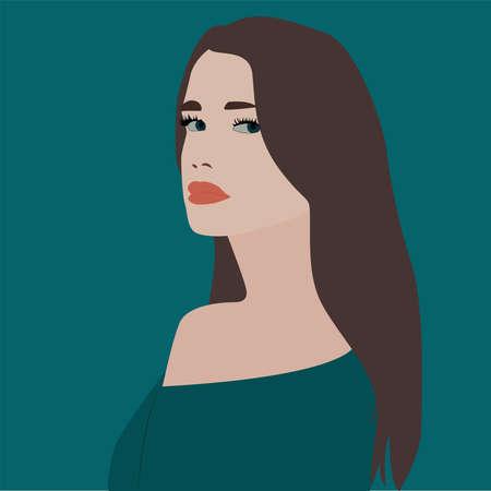 Girl looking back, illustration, vector on white background.