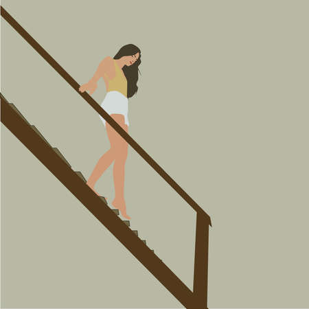 Girl walking downstairs, illustration, vector on white background. 向量圖像