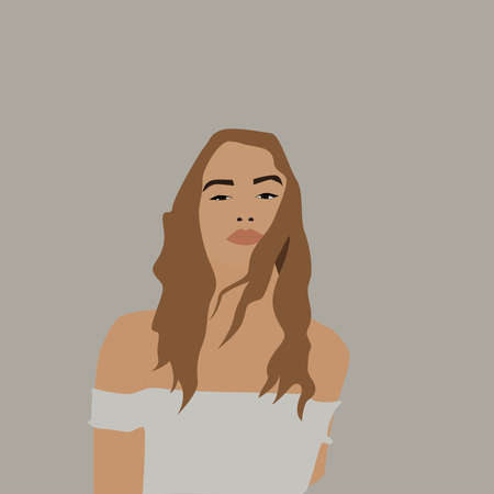 Girl in white top, illustration, vector on white background.