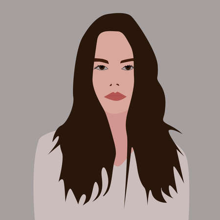 Girl with brown hair, illustration, vector on white background. 向量圖像