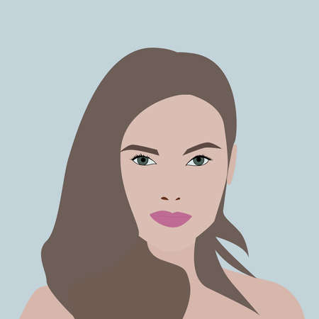 Girl with purple lipstick, illustration, vector on white background.