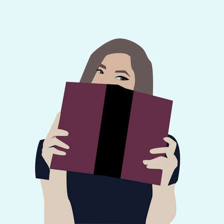 Girl with purple box, illustration, vector on white background.