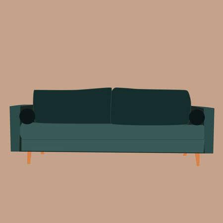 Green sofa, illustration, vector on white background. 向量圖像