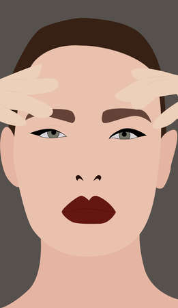 Girl with red lipstick, illustration, vector on white background. 向量圖像