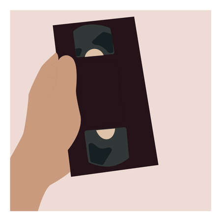 Old video disk in hand, illustration, vector on white background. 向量圖像
