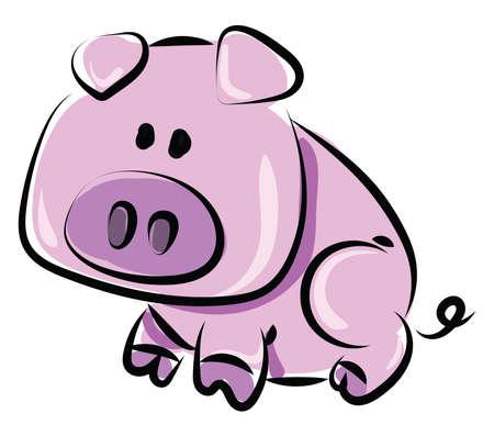 Pink pig, illustration, vector on white background.