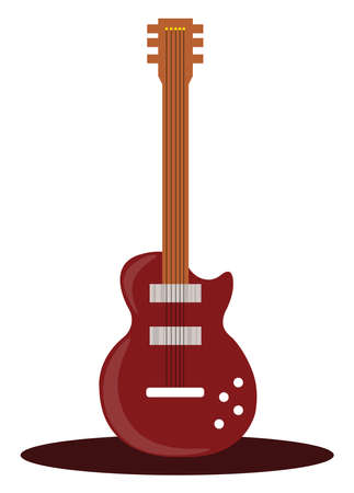 Red guitar, illustration, vector on white background.