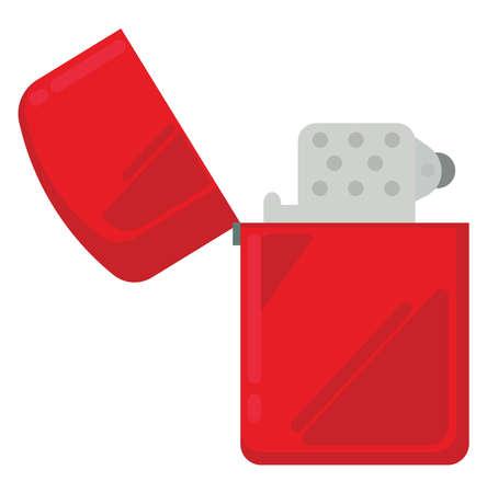 Red  lighter, illustration, vector on white background.
