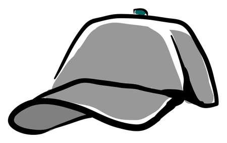 Grey cap, illustration, vector on white background.