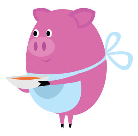Pig with bowl of soup, illustration, vector on white background. Vettoriali
