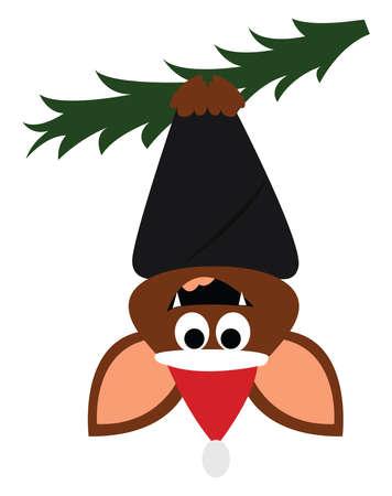 Bat on christmas tree, illustration, vector on white background. Vector Illustration