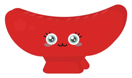 Cute red barrette, illustration, vector on white background.