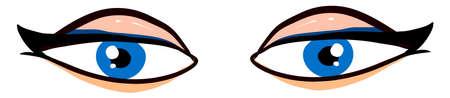 Blue womans eyes, illustration, vector on white background.