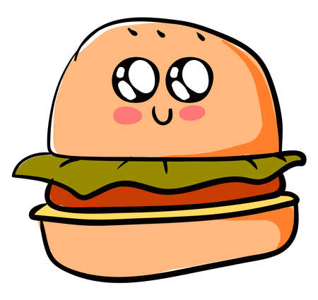Cute burger, illustration, vector on white background. Vektorové ilustrace